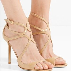 Jimmy Choo Lang 100mm Patent Strappy Sandals